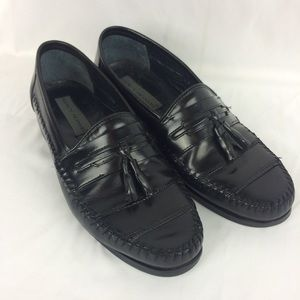 Stacy Adams Mens 9.5 Black Leather Penny Loafers